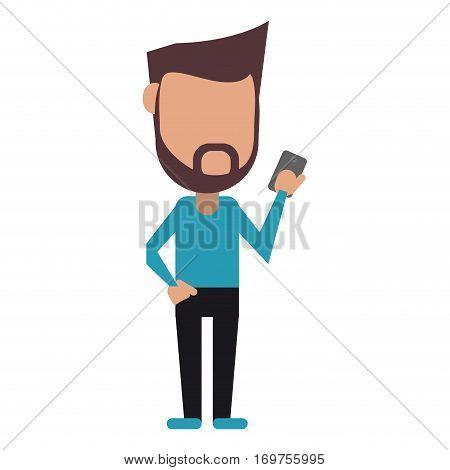 hipster man beard using cellphone digital vector illustration eps 10