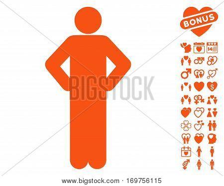 Akimbo Pose pictograph with bonus valentine pictures. Vector illustration style is flat iconic orange symbols on white background.