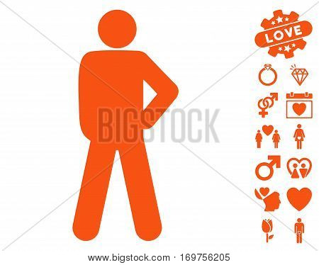Audacity Pose icon with bonus valentine pictograph collection. Vector illustration style is flat iconic orange symbols on white background.