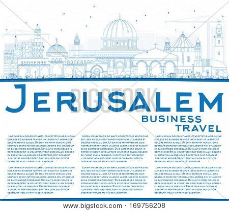 Outline Jerusalem Skyline with Blue Buildings and Copy Space. Vector Illustration. Business Travel and Tourism Concept with Historic Architecture. Image for Presentation Banner Placard and Web Site.