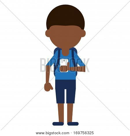 young boy looking cellphone social media vector illustration eps 10