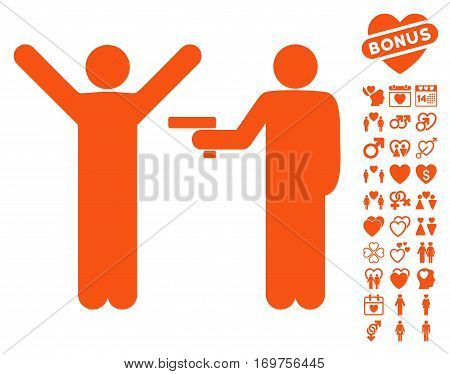 Crime Robbery icon with bonus valentine pictograph collection. Vector illustration style is flat iconic orange symbols on white background.