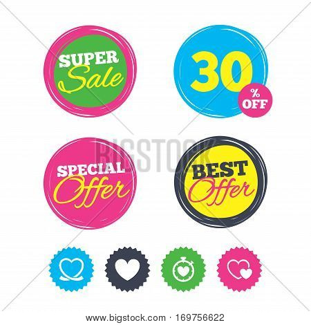 Super sale and best offer stickers. Heart ribbon icon. Timer stopwatch symbol. Love and Heartbeat palpitation signs. Shopping labels. Vector