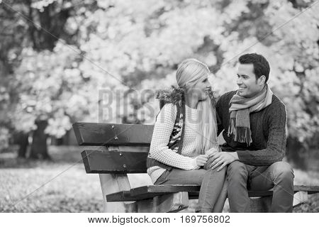 Happy young couple looking at each other while sitting on park bench during autumn