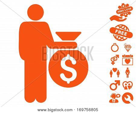 Investor pictograph with bonus valentine pictograph collection. Vector illustration style is flat iconic orange symbols on white background.