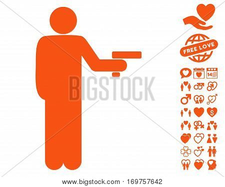 Robber With Gun icon with bonus dating pictures. Vector illustration style is flat iconic orange symbols on white background.