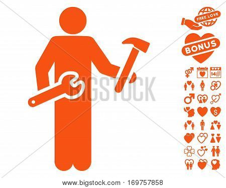 Serviceman pictograph with bonus love pictures. Vector illustration style is flat iconic orange symbols on white background.
