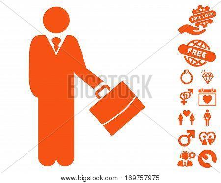 Standing Businessman pictograph with bonus lovely symbols. Vector illustration style is flat iconic orange symbols on white background.