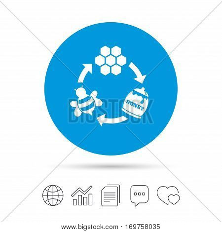 Producing honey and beeswax sign icon. Honeycomb cells symbol. Honey in pot. Sweet natural food cycle in nature. Copy files, chat speech bubble and chart web icons. Vector