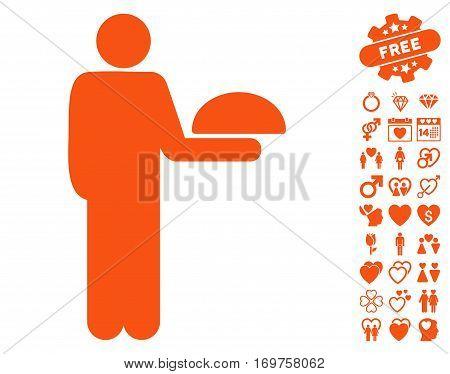 Standing Waiter icon with bonus dating images. Vector illustration style is flat iconic orange symbols on white background.