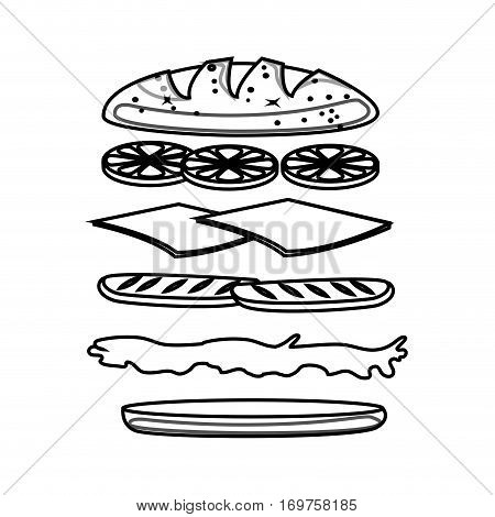 set Sandwich ingredients icon vector illustration design
