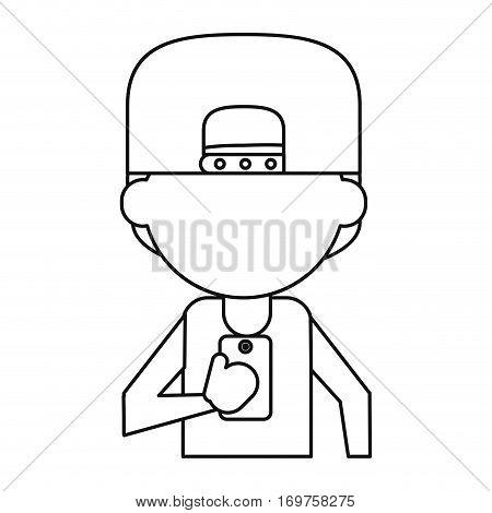 sportman character using smartphone thin line vector illustration eps 10