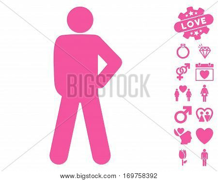 Audacity Pose pictograph with bonus valentine icon set. Vector illustration style is flat iconic pink symbols on white background.