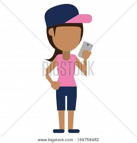 sportwoman sharing smarthpone technology vector illustration eps 10