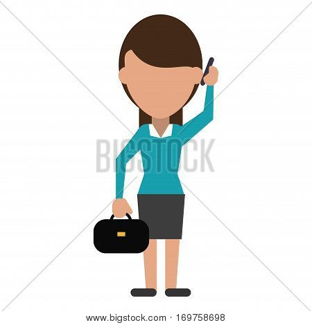 woman business with suitcase talk cellphone vector illustration eps 10