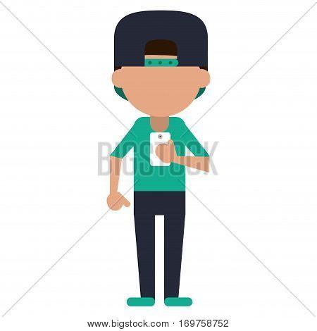 sportman character using smartphone vector illustration eps 10