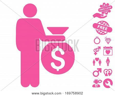 Investor icon with bonus dating symbols. Vector illustration style is flat iconic pink symbols on white background.