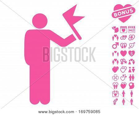 Man With Flag pictograph with bonus valentine icon set. Vector illustration style is flat iconic pink symbols on white background.