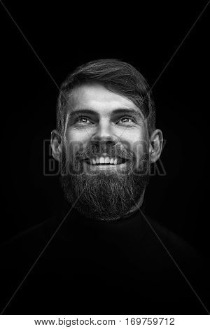 Black And White Portrait Of Laughing Young Bearded Man