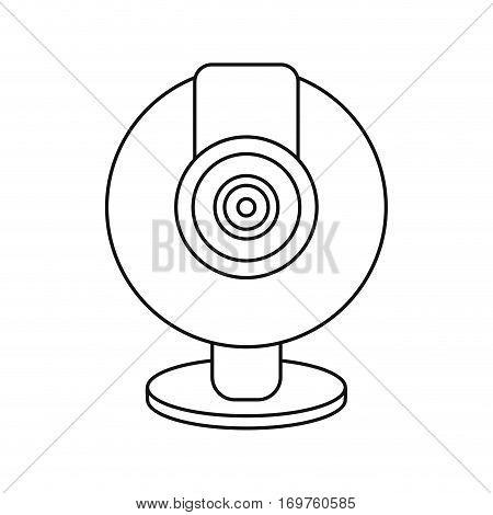 web cam computer rounded icon thin line vector illustration eps 10