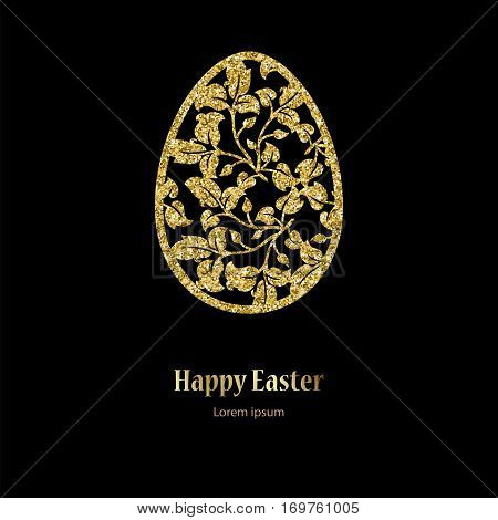 Card with golden openwork Easter egg with leaves and space for text. Vector illustration EPS10.