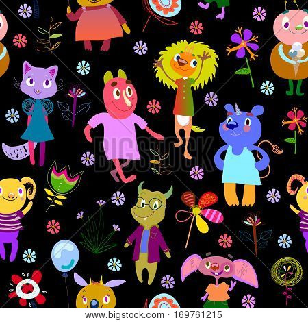 Jolly debonair monsters. Seamless pattern with funny fantastic characters and unusual flowers. Bright colorful background for children design. Summer collection. Black backdrop. Vector illustration