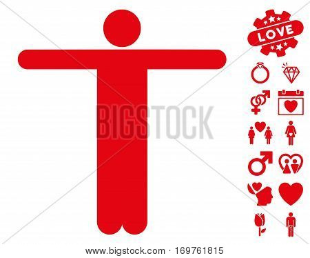 Scarecrow Pose pictograph with bonus dating symbols. Vector illustration style is flat iconic red symbols on white background.