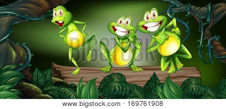 Three frogs dancing on log in the jungle illustration