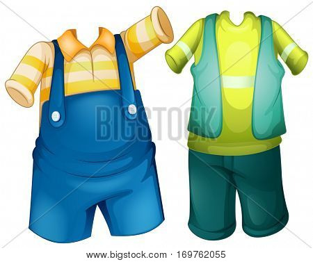 Children outfit in two designs illustration