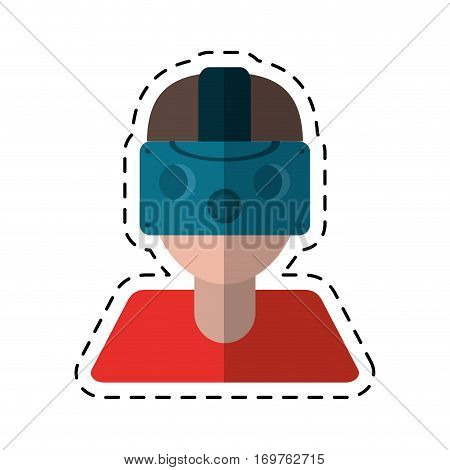 gamer with virtual reality augmented device cut line vector illustration eps 10