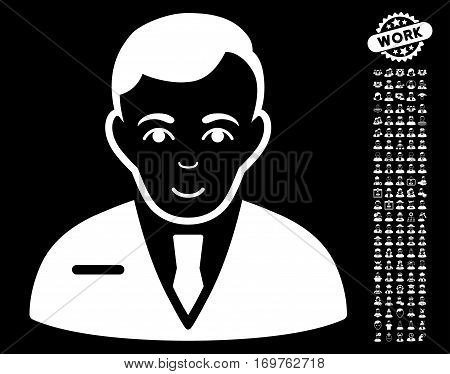Businessman pictograph with bonus occupation design elements. Vector illustration style is flat iconic white symbols on black background.