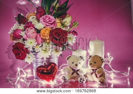 Vase Of Bouquet Roses And Lovely Couple Bear