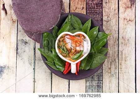 Streamed Fish Curry In Heart-shaped Cup .