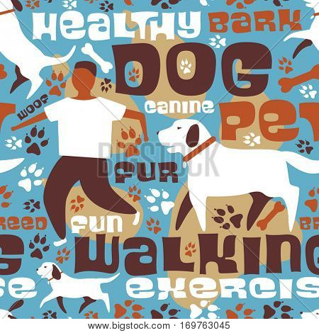 Vector seamless tile of a dog walking theme