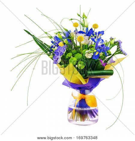 Flower bouquet from roses, green carnation, iris and statice flowers in glass vase isolated on white background. Closeup.