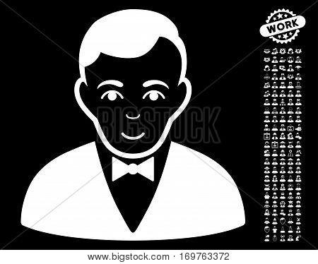 Dealer icon with bonus human symbols. Vector illustration style is flat iconic white symbols on black background.