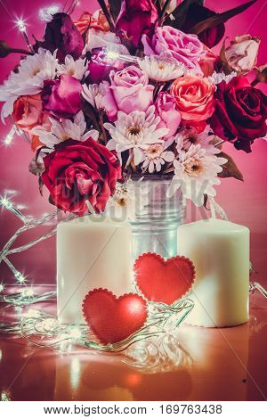 Red Heart And White Candlestick With Lighting Bulb