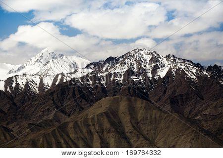 Spectacular mountain scenery Himalaya Range background , Leh-Ladakh, Jammu & Kashmir, Northern India