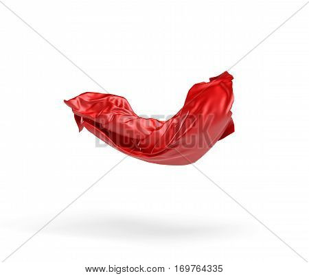 3d rendering of a red cloth draped over an invisible object and hanging on white background. Ads and promotions. Opening ceremonies. Secrets and mysteries.