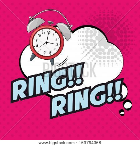 pop art clock ring ring bubble pink dotted vector illustration eps 10