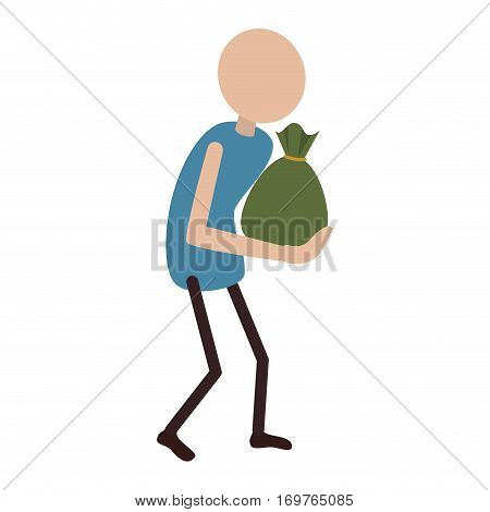 person with money bag isolated icon vector illustration design