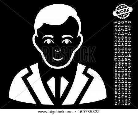 Noble icon with bonus men graphic icons. Vector illustration style is flat iconic white symbols on black background.