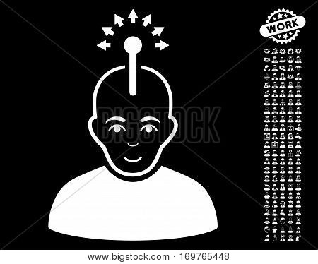 Optical Neural Interface pictograph with bonus human pictograph collection. Vector illustration style is flat iconic white symbols on black background.