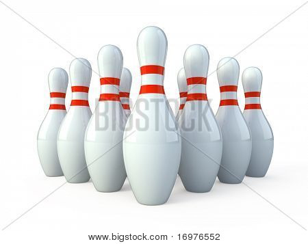 Bowling , white skittles on white background