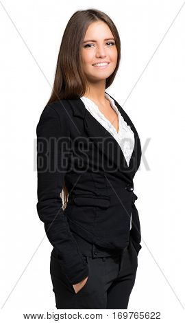 Beautiful young businesswoman portrait isolated on white