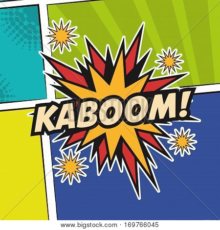 pop art kaboom texting stars colored background design vector illustration eps 10