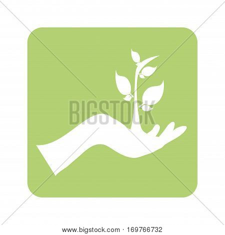 opaque green background with hand and plant vector illustration