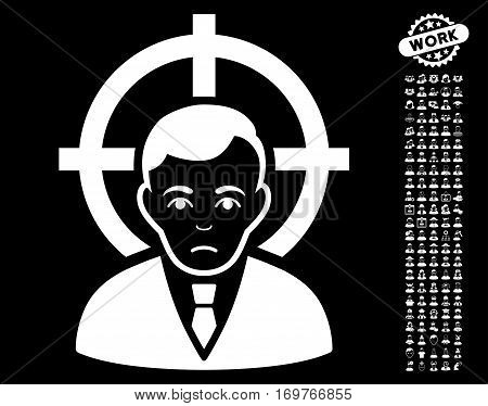 Victim Businessman pictograph with bonus people pictures. Vector illustration style is flat iconic white symbols on black background.