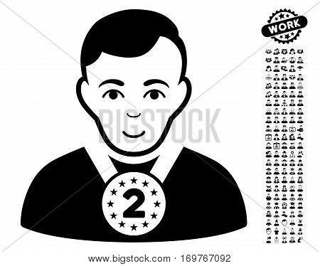 2nd Prizer Sportsman pictograph with bonus men images. Vector illustration style is flat iconic black symbols on white background.