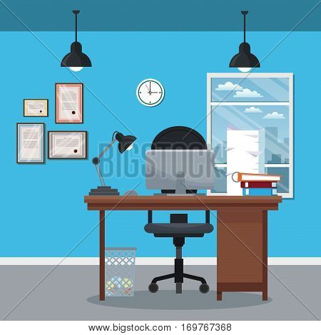 workplace office desk clock diploma laptop window city vector illustration